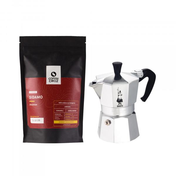 Bialetti Moka Kanne & Kaffee im Set